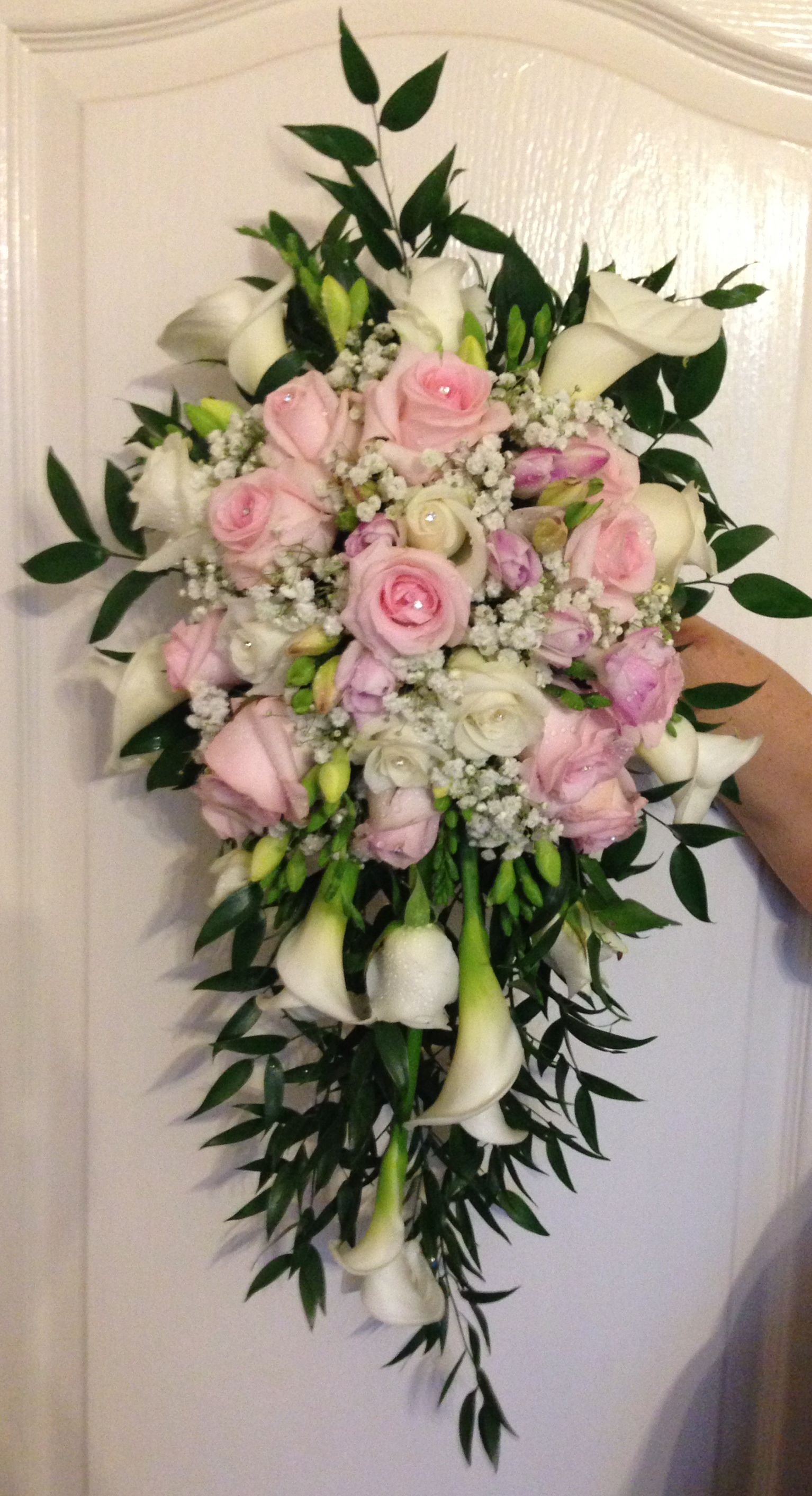 Baby pink and white fresh flower bridal bouquet - calla lilies ...
