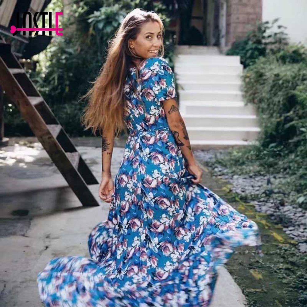 80730f9fd6df Jastie V-Neck Wrap Women Dress Cotton Floral Print Summer Dress Ruffled Hem  Boho Maxi Dresses Casual Beach Female Vestidos 2018 //Price: $58.90 & FREE  ...