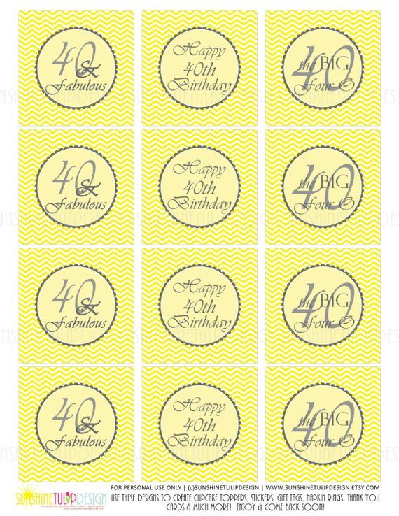 Printable 40th Birthday Yellow Chevron and Gray Cupcake Toppers