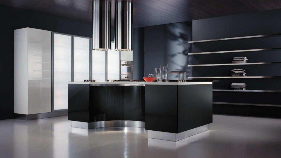 Kitchen: Sophisticated & Inspiring Dark Kitchen Designs . Interesting Black Kitchen Design with Double Monochromatic Chimney