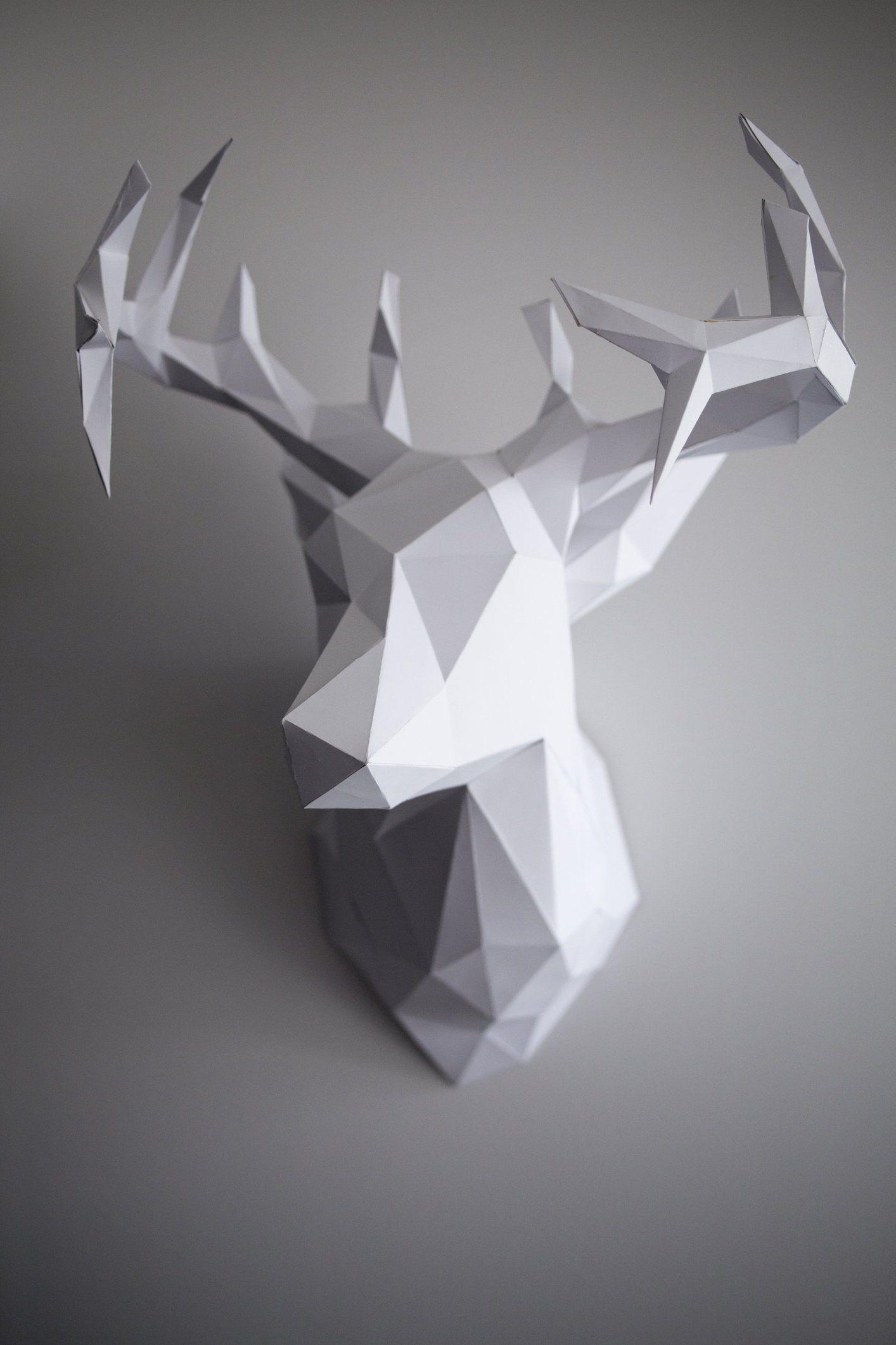 diy 3d paper reindeer head just in time for christmas. Black Bedroom Furniture Sets. Home Design Ideas