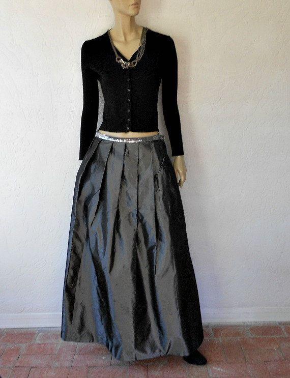 Vintage Taffeta Skirt 80 s Gray Taffeta Maxi Skirt by luvofvintage ... 328a4ba4437