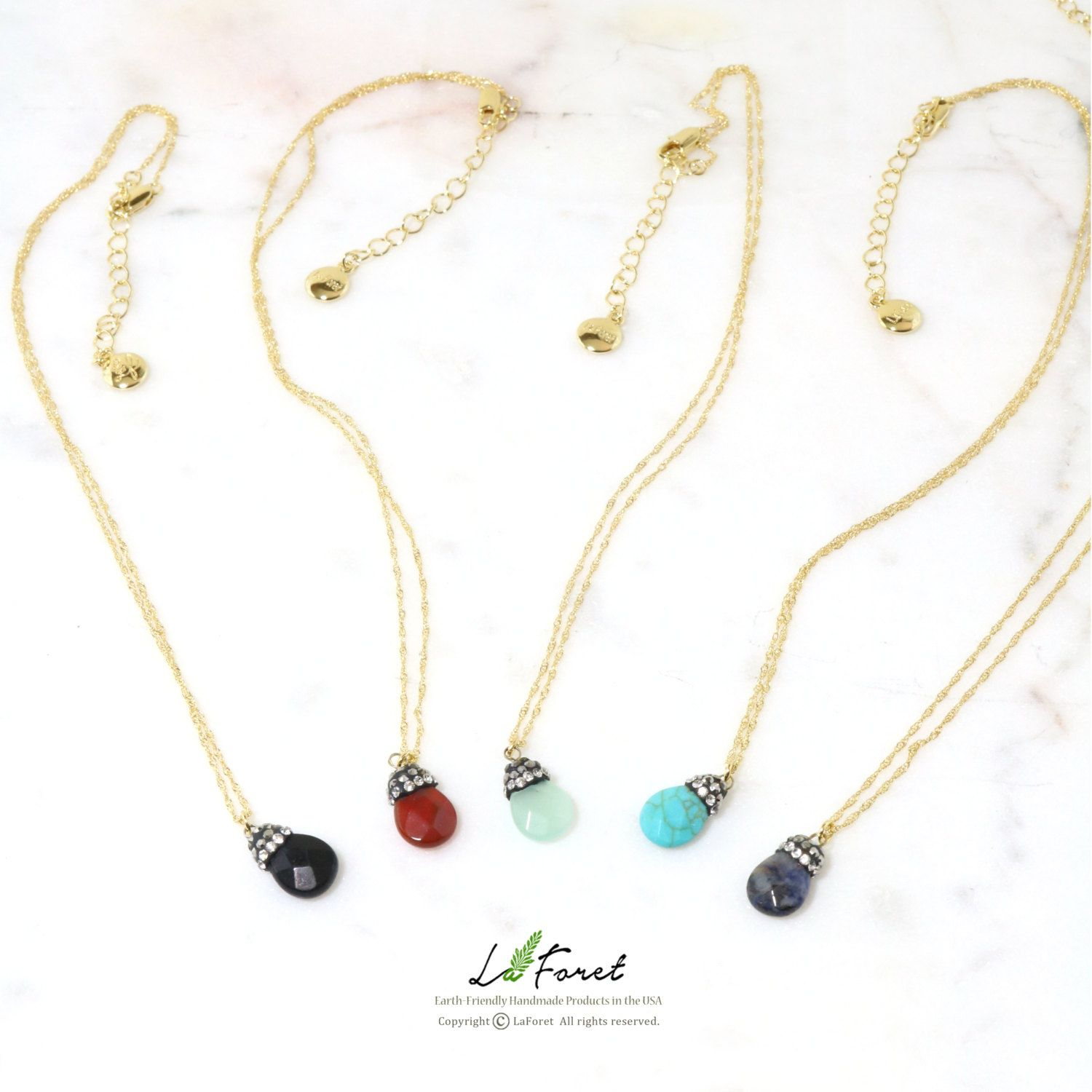 Free Shipping Andrea Tiny Faceted Teardrop Semi Precious Stone Short Necklace By Laforetcandle On Et Natural Stone Jewelry Short Necklace Semiprecious Stones