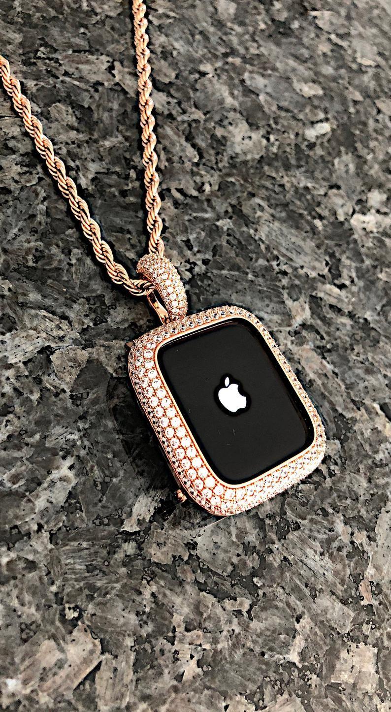 Rose gold Apple Watch Pendant,Necklace wear on wat