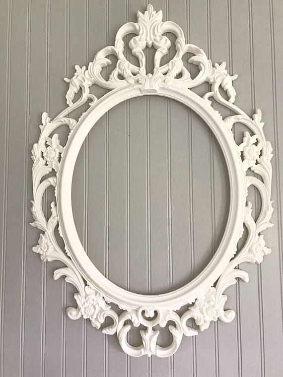 White Wedding Picture Frame, Large Ornate Oval Bridal Photo Prop ...