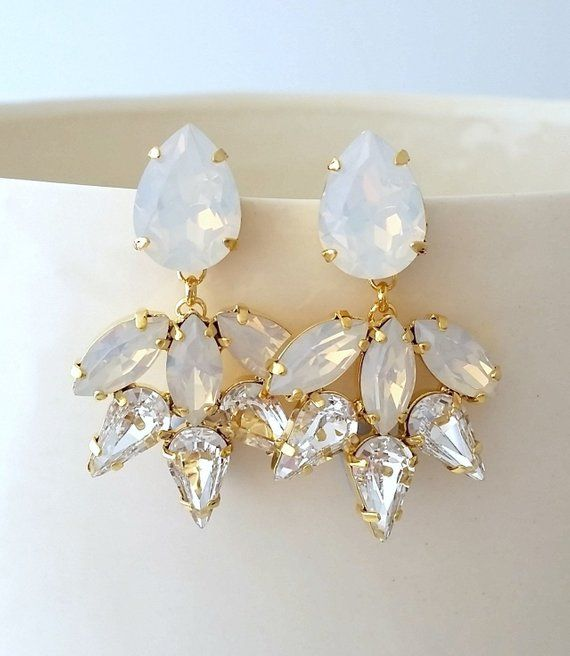 Bridal Earrings White Opal