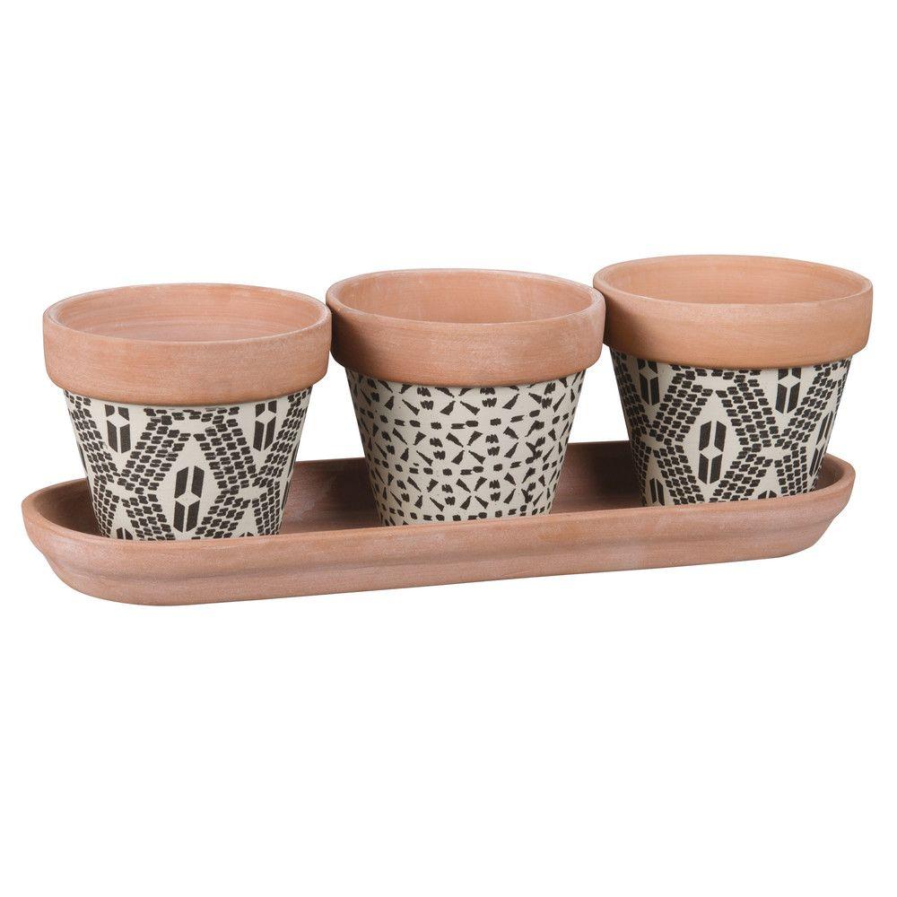 3 mini cache pots en terre cuite motifs maisons du monde