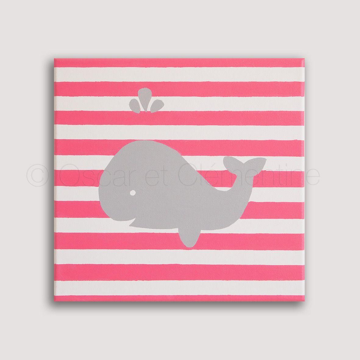 Baleine peinte la main toile pour chambre d 39 enfant ou de b b les petites toiles oscar et - Toile pour chambre bebe ...
