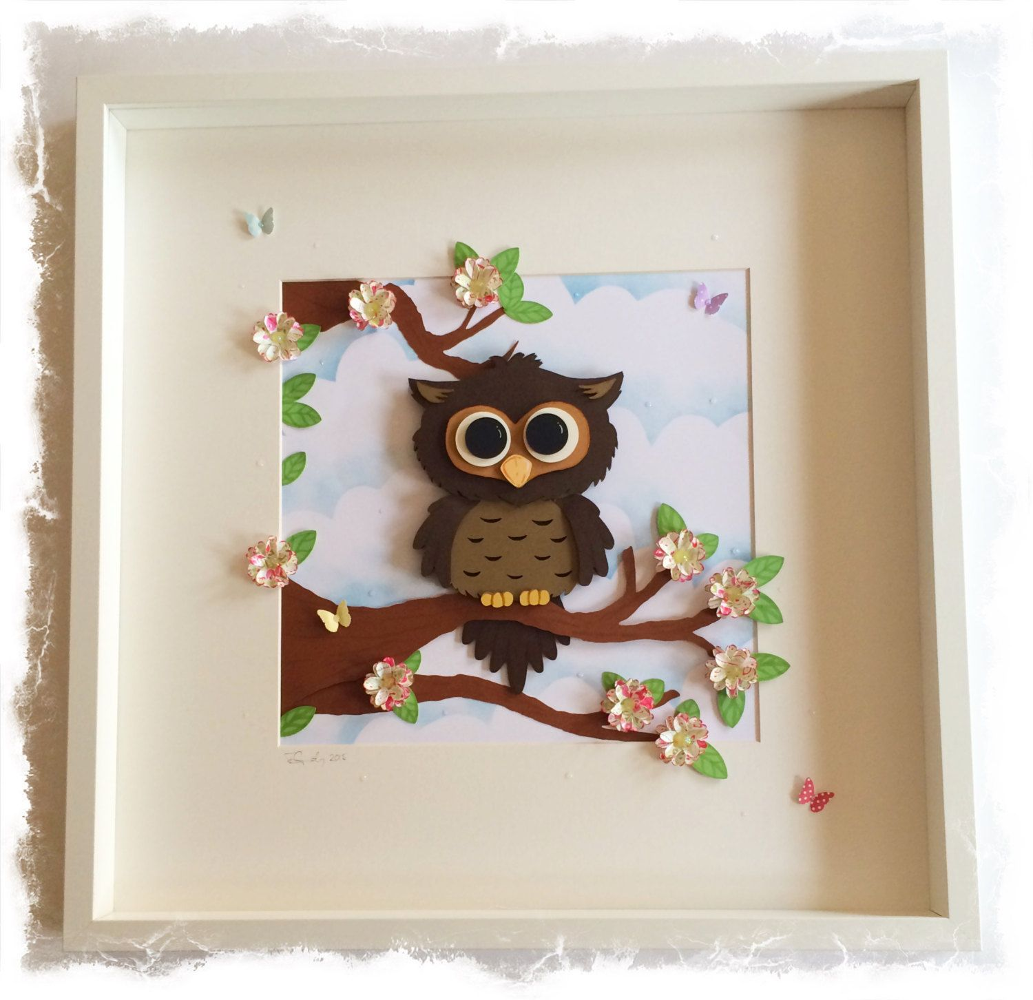 Owl Collage / 3D Owl Picture - Large Shadow box frame by ...