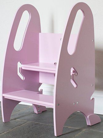 The Growing Step Stool By Little Partners (Pink)   Adjustable Height  Nursery, Kitchen