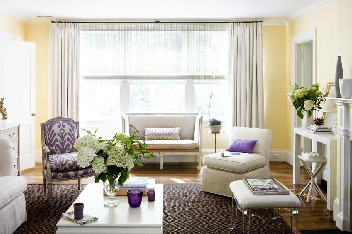 Serene but colorful. Dedar ikat in lilac. | Living Room inspiration ...