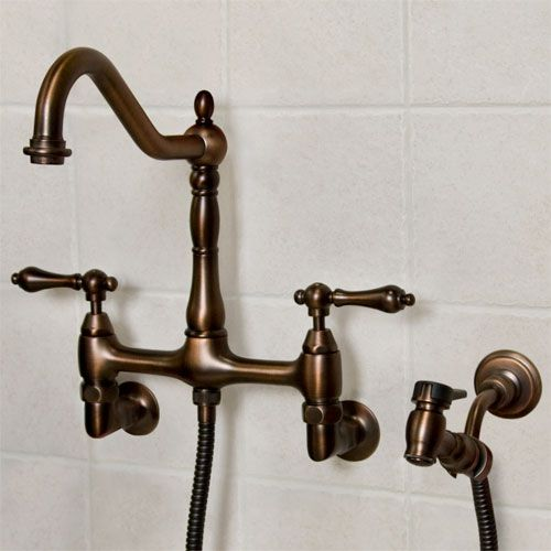 Dawson Wall Mount Kitchen Faucet With Hand Spray Oil Rubbed Bronze