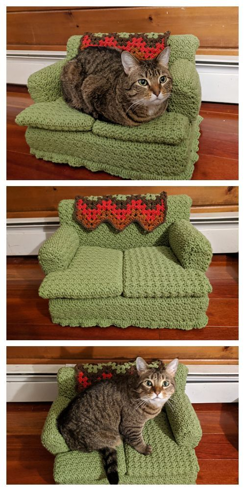 Kitty Couch Bed Crochet Patterns Diy Magazine In 2020 Crochet Cat Toys Crochet Cat Crochet Projects