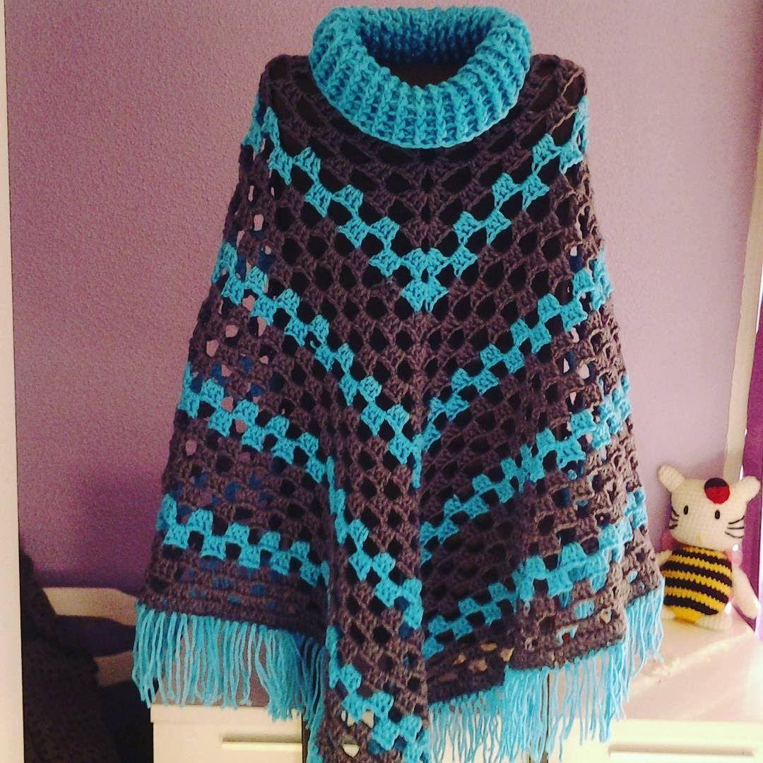 poncho muy f cil de realizar tejido a crochet con un. Black Bedroom Furniture Sets. Home Design Ideas