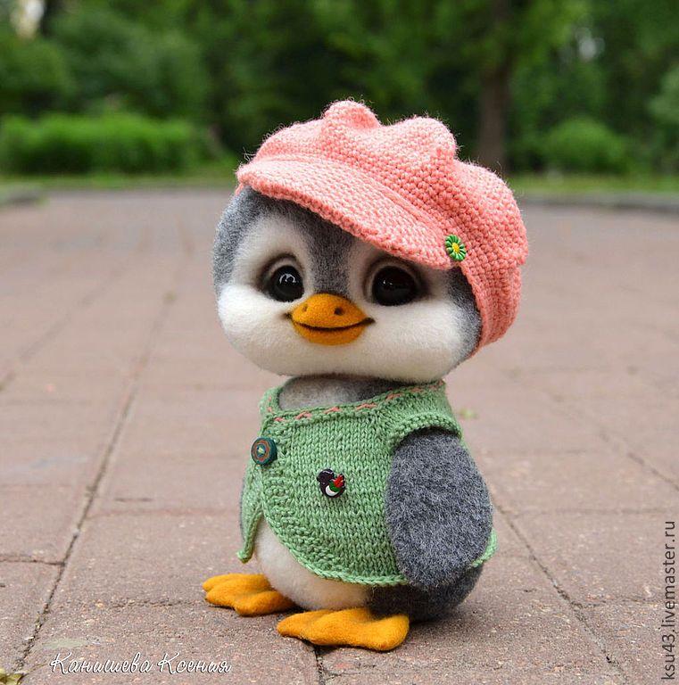 Купить Флиппи - серый, пингвин, пингвины, пингвиненок, пингвинчик, игрушка из шерсти, шерстяная игрушка