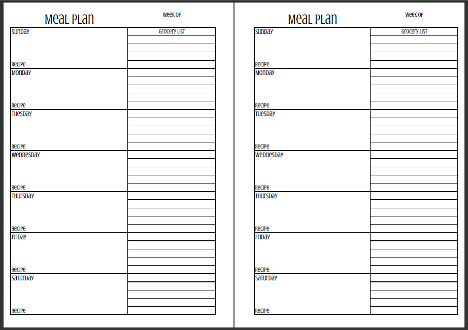 Now on my blog mealplan pages for A4, A5 and 5.5X8.5 size planners!  Available for FREE with Sunday to Saturday and Monday to Friday!  Found at www.pembrookelane.com