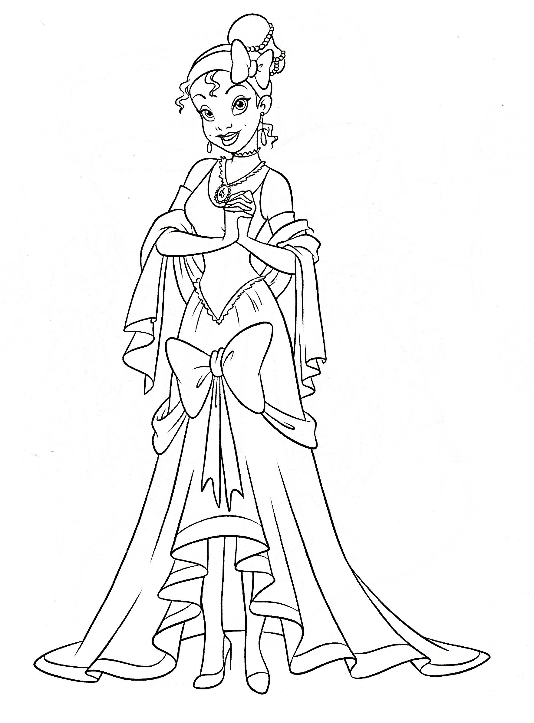 Walt Disney Coloring Page Of Princess Tiana From The And Frog HD Wallpaper Background Photos Pages