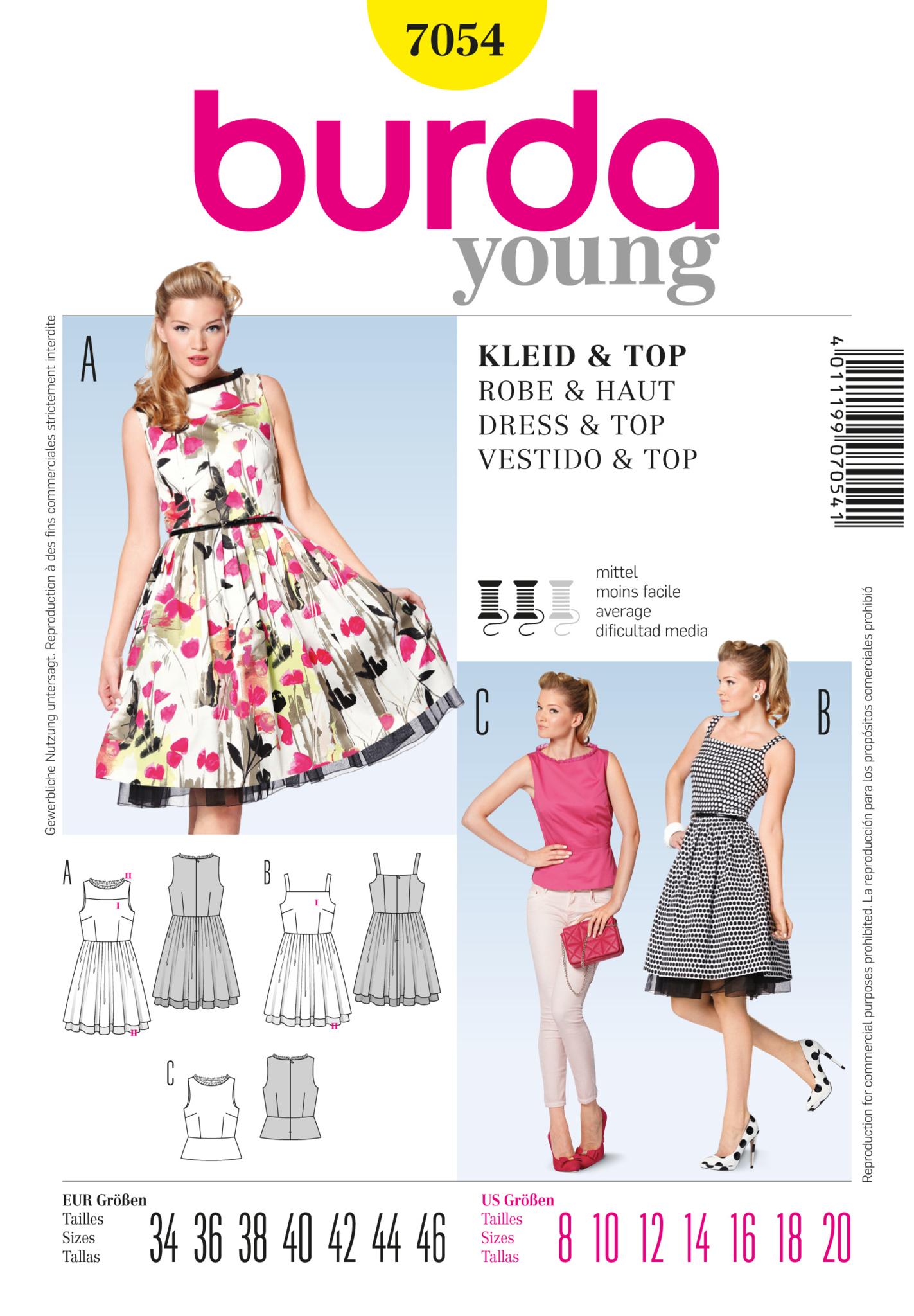 Burda Pattern: BD7054 Misses Dress & Top | Vintage — jaycotts.co.uk ...