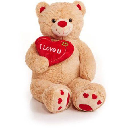 Jumbo Valentines Teddy Bear With I Love You Heart, Brown