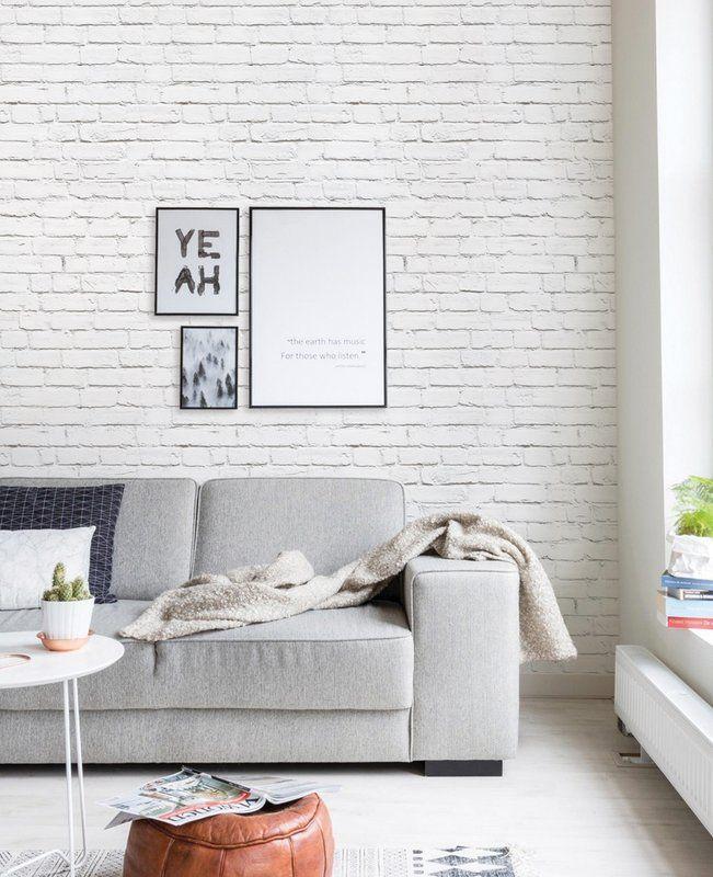 Mckeown Modern Clean Look Brick 4 L X 24 W Peel And Stick Wallpaper Roll B White Brick Wallpaper Bedroom Brick Wallpaper Living Room Brick Wall Living Room