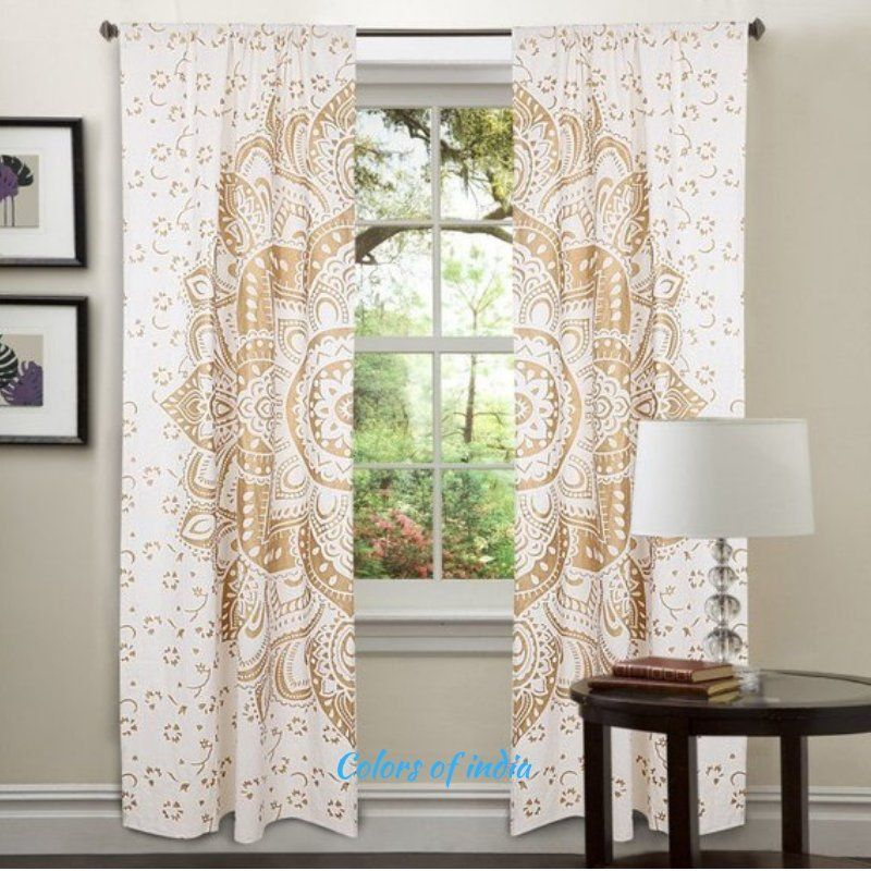 Mandala Curtain White And Gold Tapestries Curtain Panels For Your