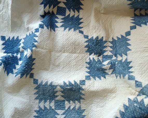 Vintage Quilt Blue and White Early 1900s by BitsAndPiecesEtc, $55.00, Etsy