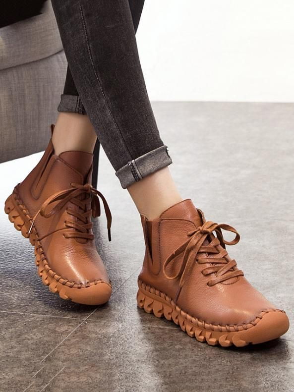 Winter Solid Color Genuine leather Booties #autumncolors