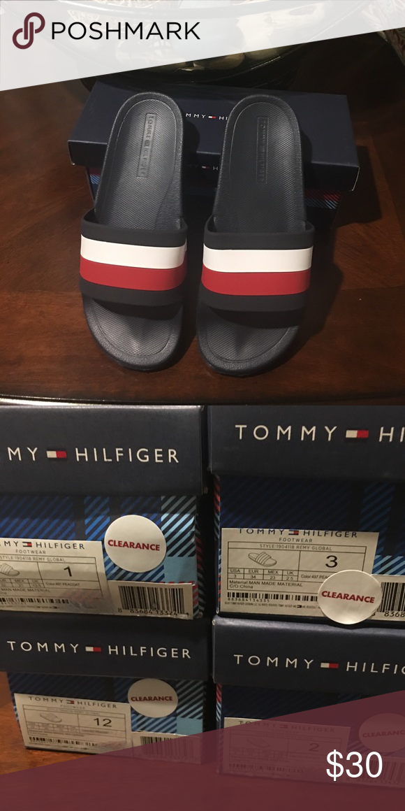 7ba0cbb93ad518 Tommy slides New in box color block slides Red white blue Tommy Hilfiger  Shoes Sandals   Flip Flops