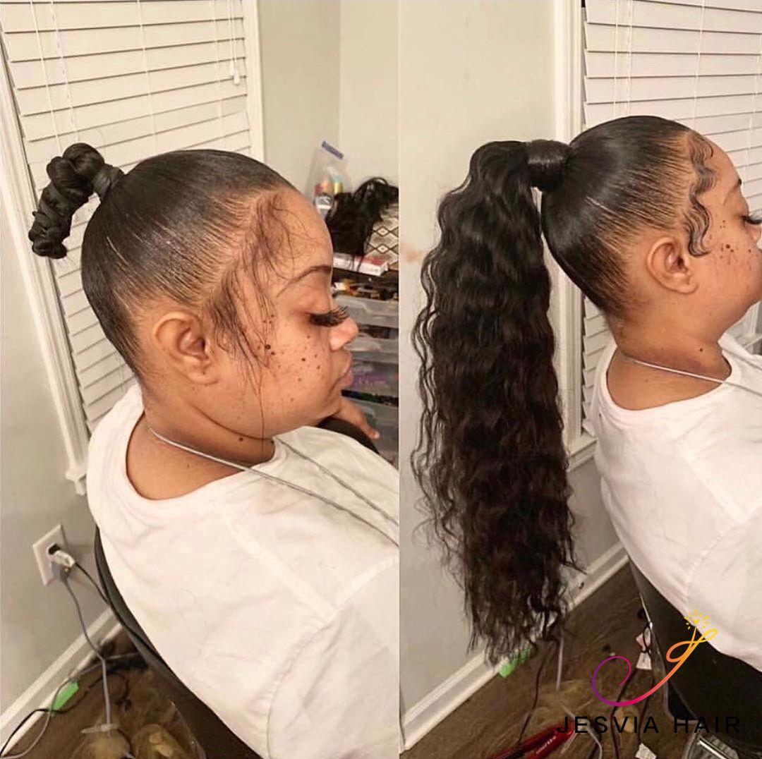 Jesvia Hair Brazilian Virgin Hair Loose Deep Wave Hair Ponytail Styles Ponytail Styles Hair Styles