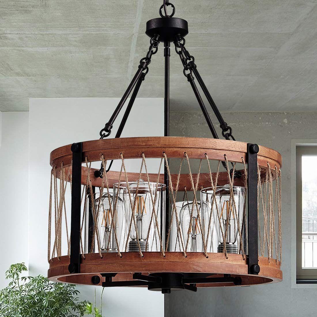 Wooden Chandelier Led In 2020