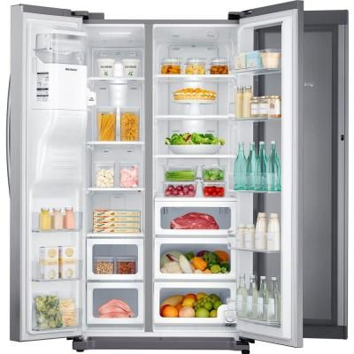 Samsung 24 7 Cu Ft Side By Side Refrigerator In Stainless Steel With Food Showcase Design Rh2 Showcase Design Side By Side Refrigerator Black Stainless Steel