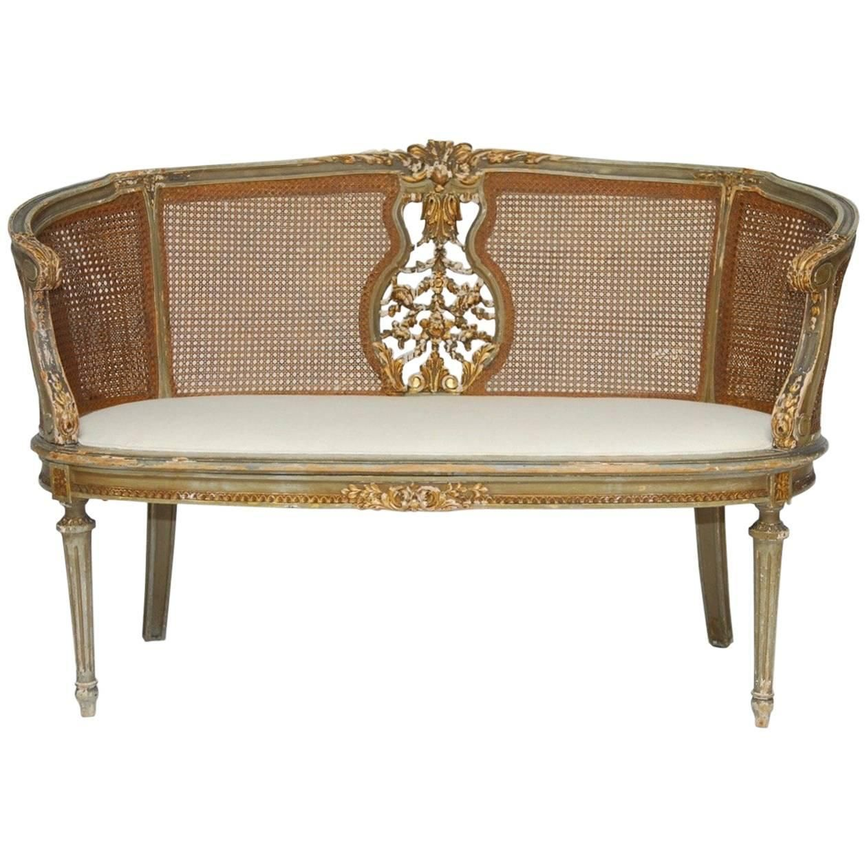 French Louis Xvi Cane Settee Canape En Corbeille Antique French