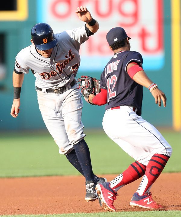 Cleveland Indians Francisco Lindor Tags Out Detroit Tigers Ian Kinsler On A Run Down Near Second Base In The First Cleveland Indians Detroit Tigers Cleveland