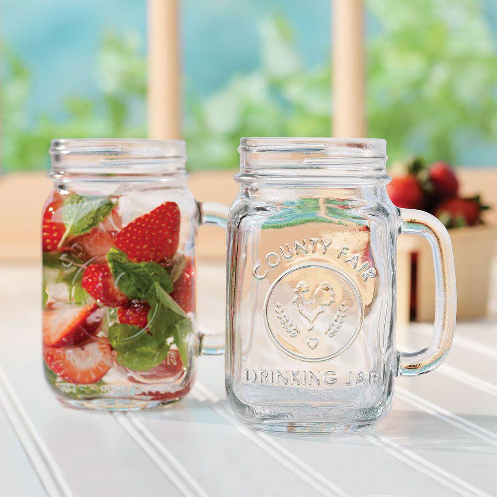 County Fair Mason Jar Drinking With Handle 12