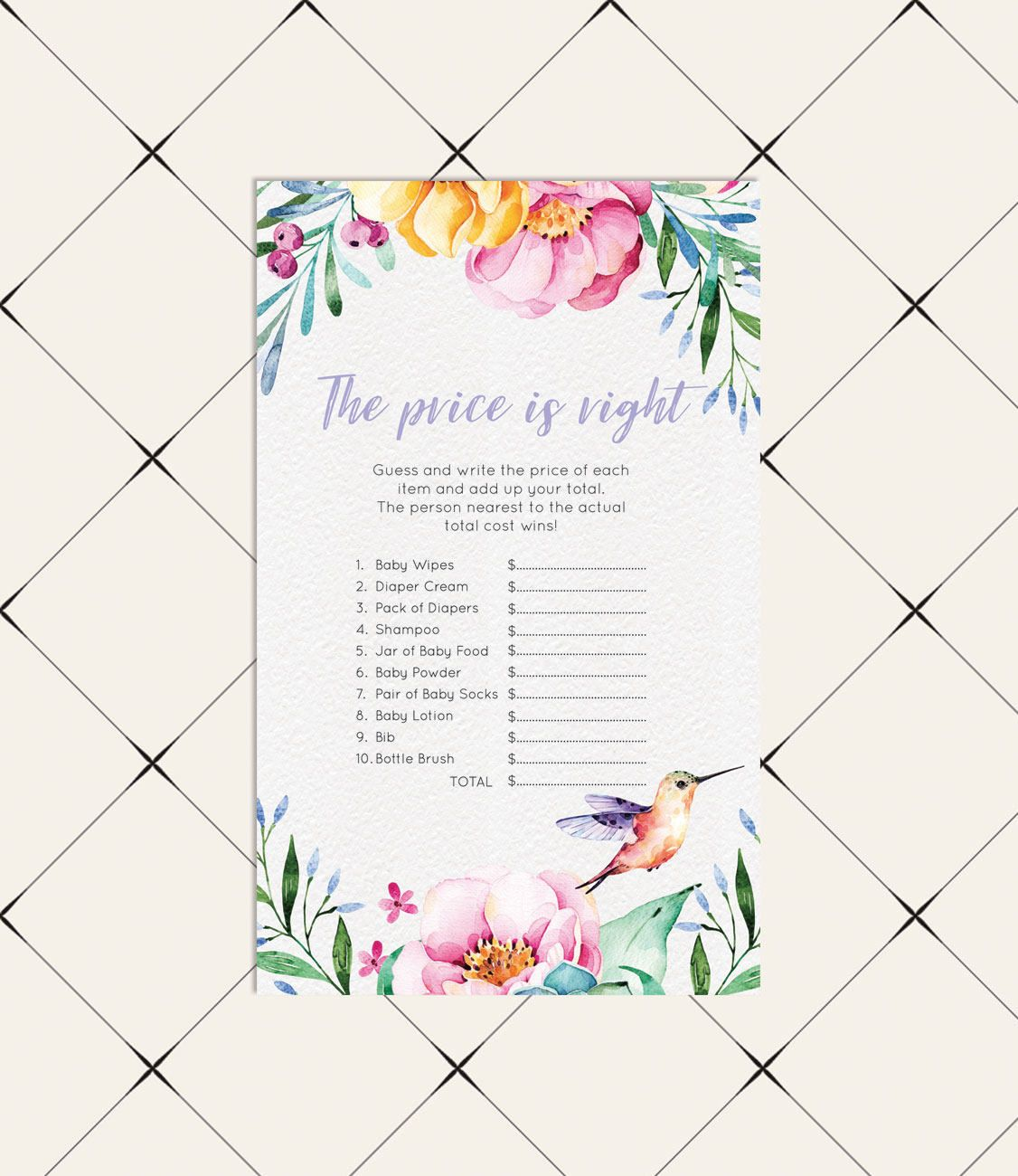 Price is Right Baby Shower Games Peonies Greenery Girl