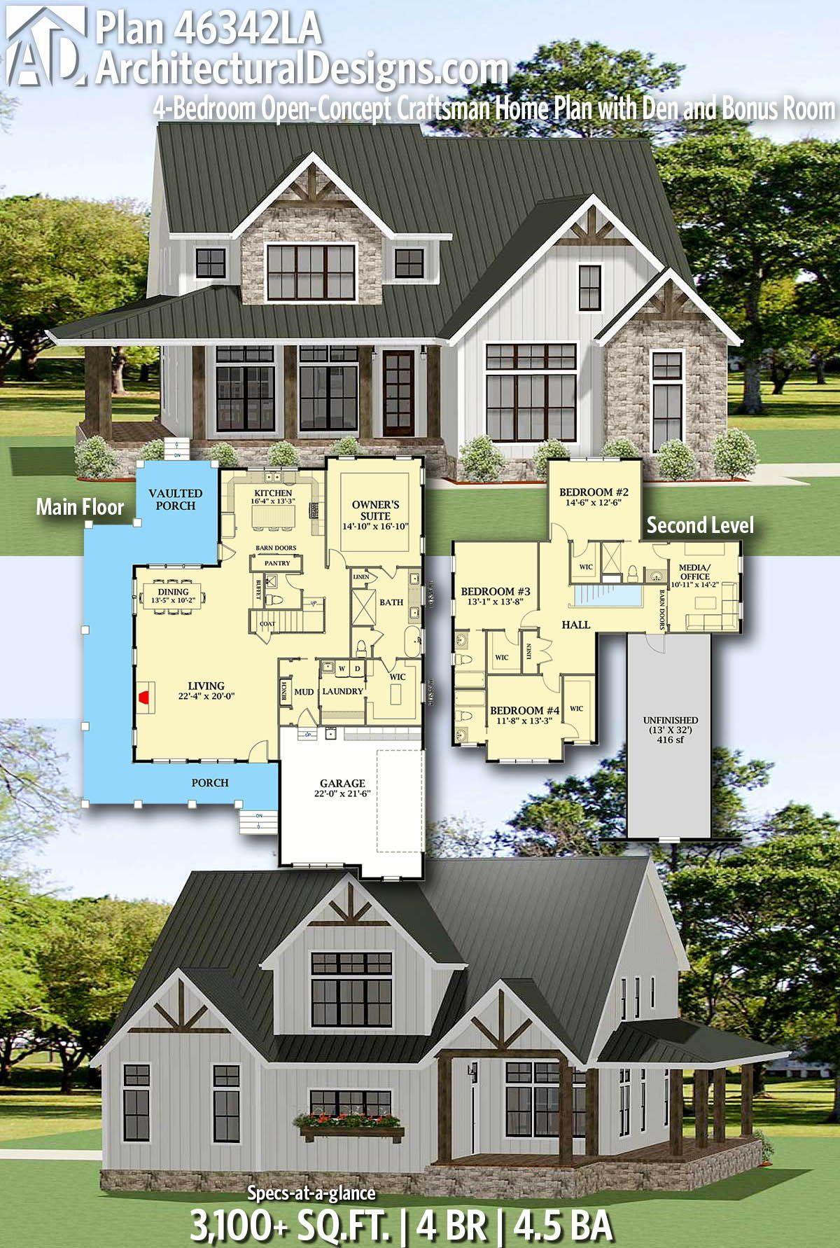 Plan 46342la 4 Bedroom Open Concept Craftsman Home Plan With Den And Bonus Room Craftsman House Plans House Plans Farmhouse House Plans