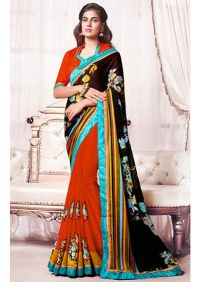 Party Wear Black & Red Georgette Saree  - 73367
