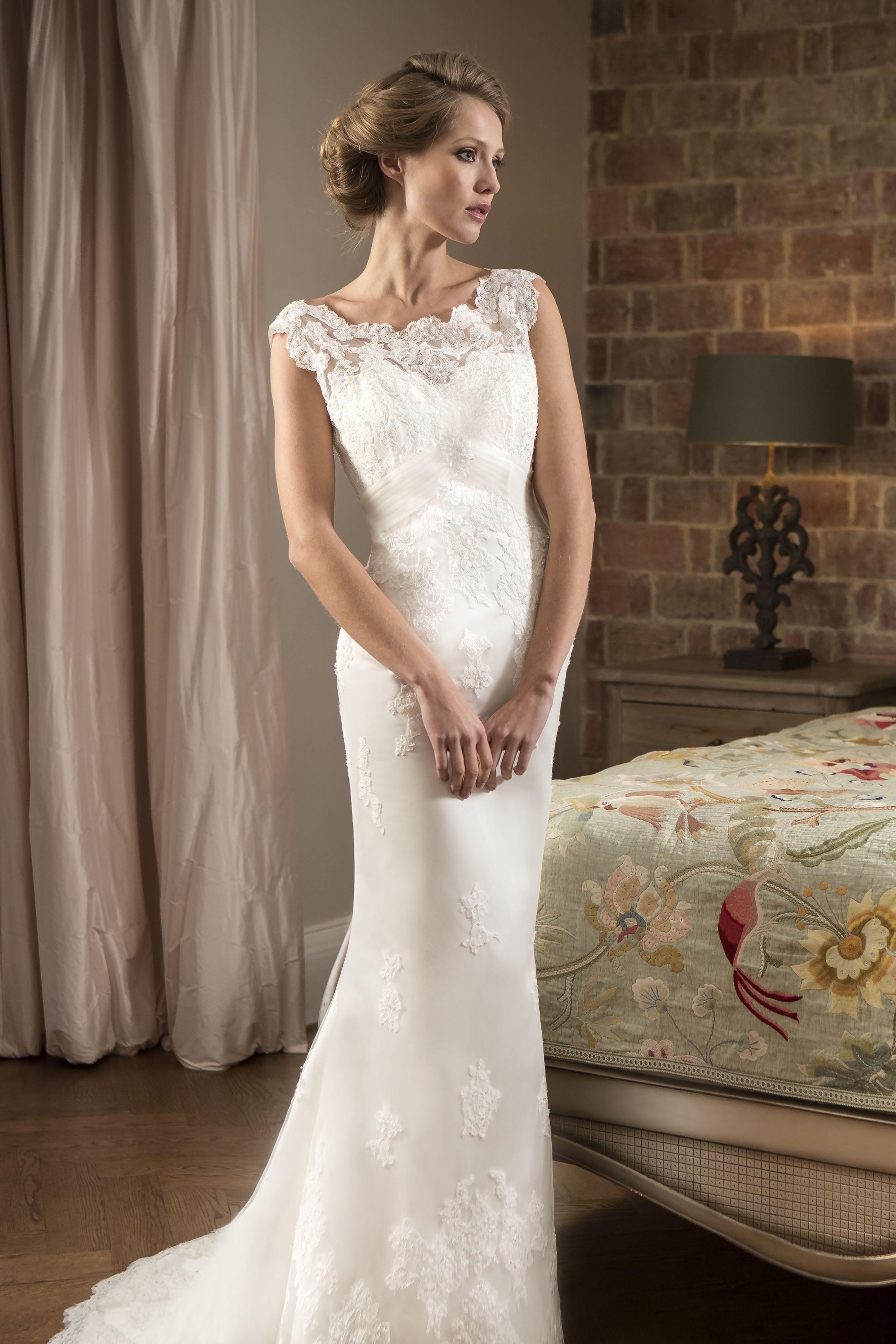 True bride w134 true bride w134 slim lace bridal gown for Boat neck lace wedding dress