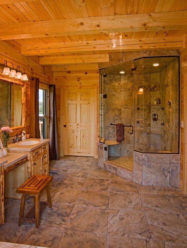 Supersized WalkIn Showers (With images) Log homes, Log
