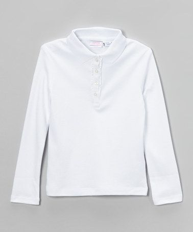 IZOD white ruffle long-sleeve polo on Zulily.