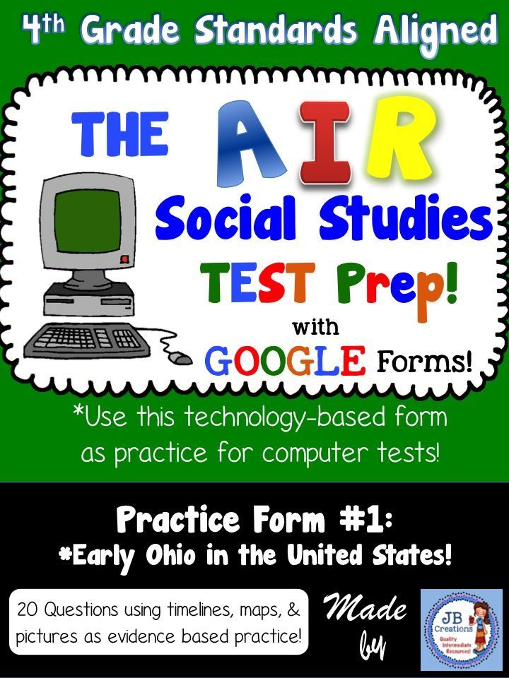 Th Grade AIR Social Studies Test Prep Using Google Forms - Us map testing results for 4th grade