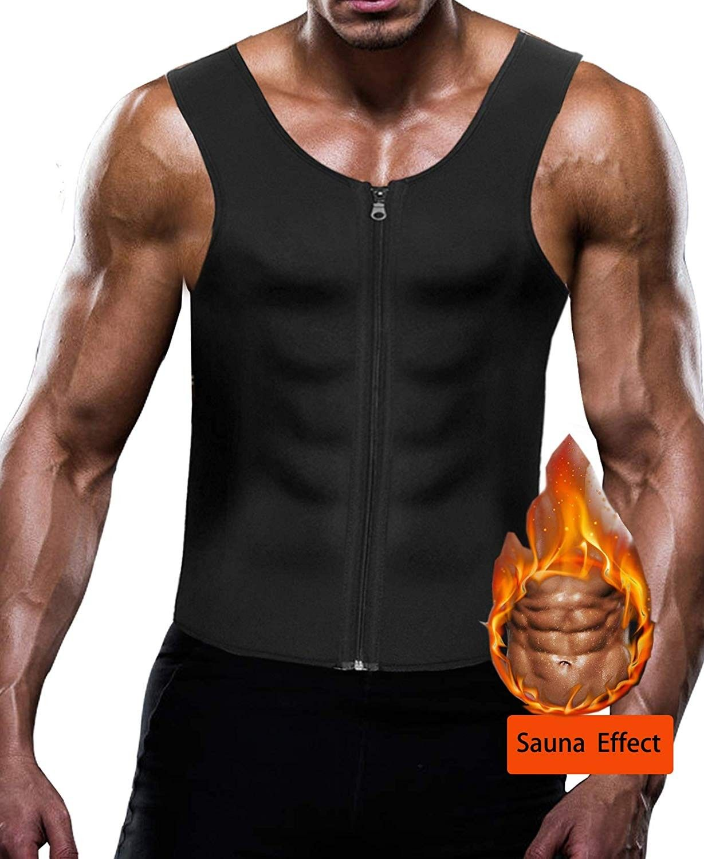 Men Waist Trainer Gym Sauna Sweat Suit Zipper Sports Shirt Body Shaper Vest US
