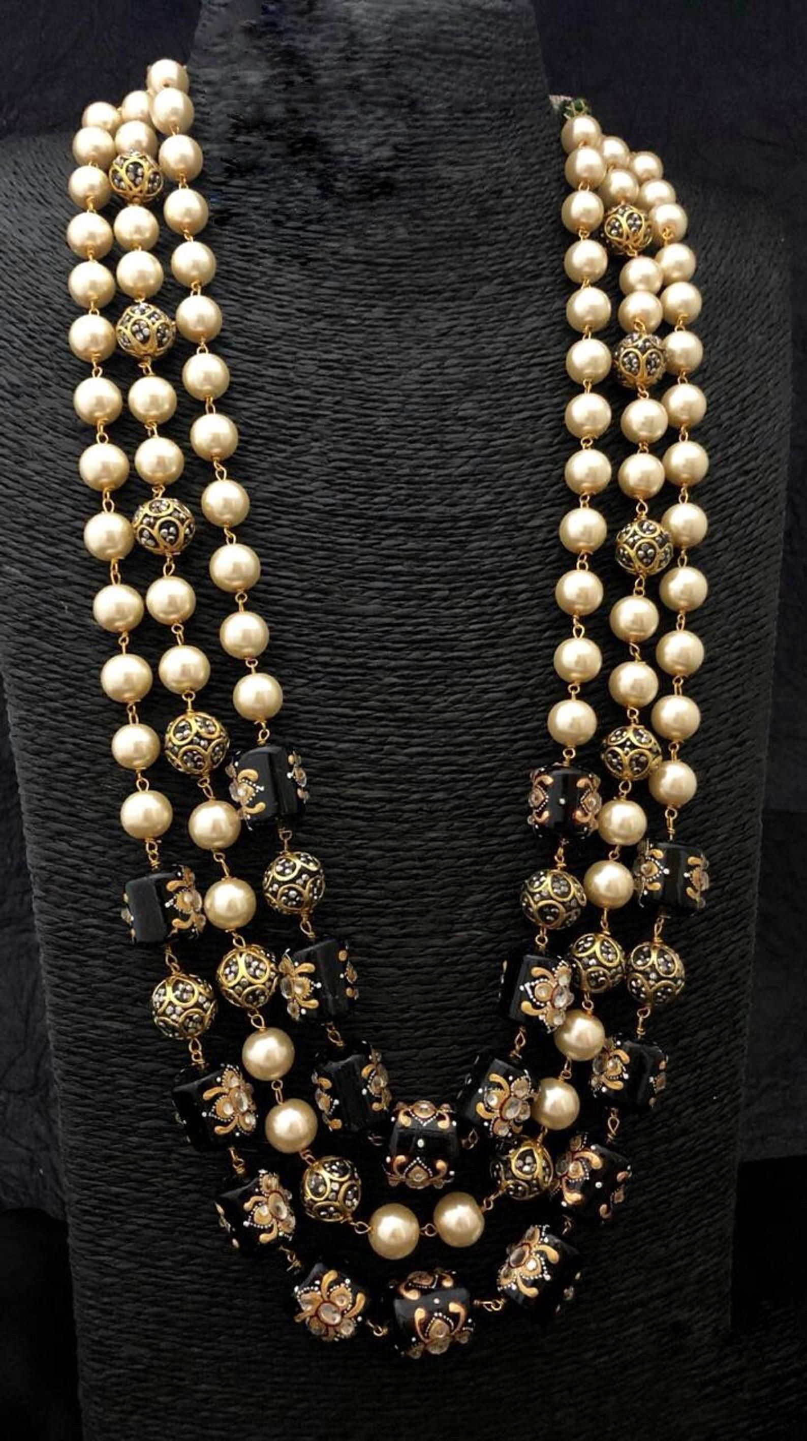 Items similar to Hand crafted Pearl and Beads Necklace, Jaipur Mala on Etsy