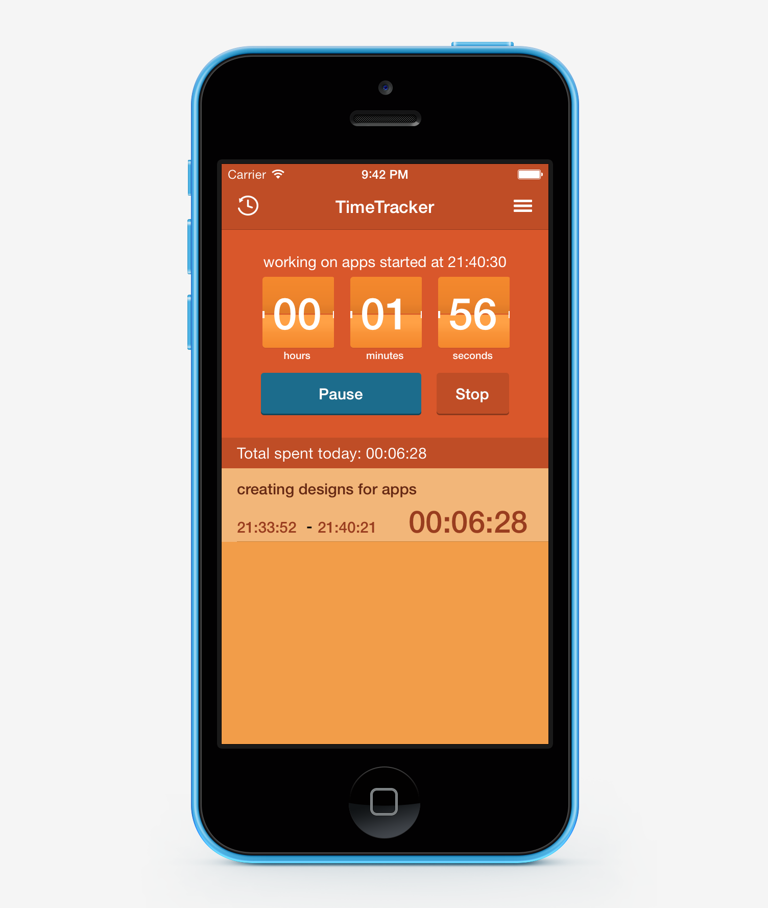 Time tracker app template with Xcode Sample Project, source code ...