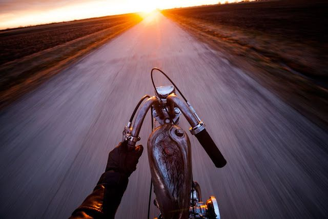 Slim Chopper On A Lonely Highway Riding Into The Sunset This Is