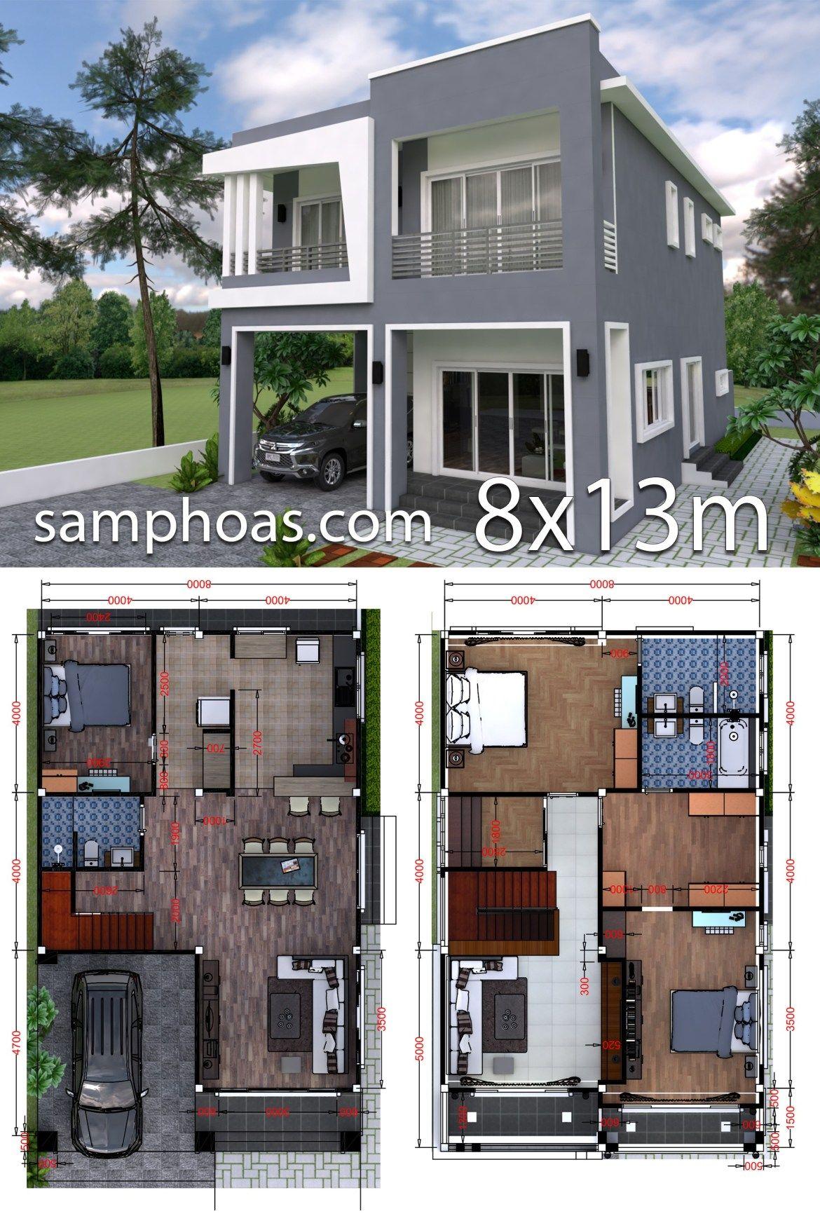 Plan 3d Interior Design Home Plan 8x13m Full Plan 3beds Samphoas Plansearch 3d Interior Design 3d Home Design House Design