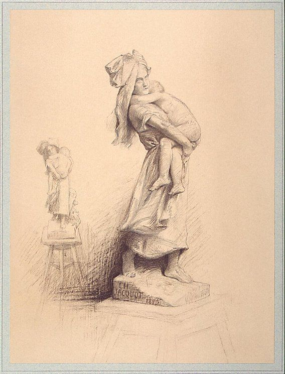 Drawing of Two Versions of the 'Mother and Child' Sculpture Charles Jacquot, 1893