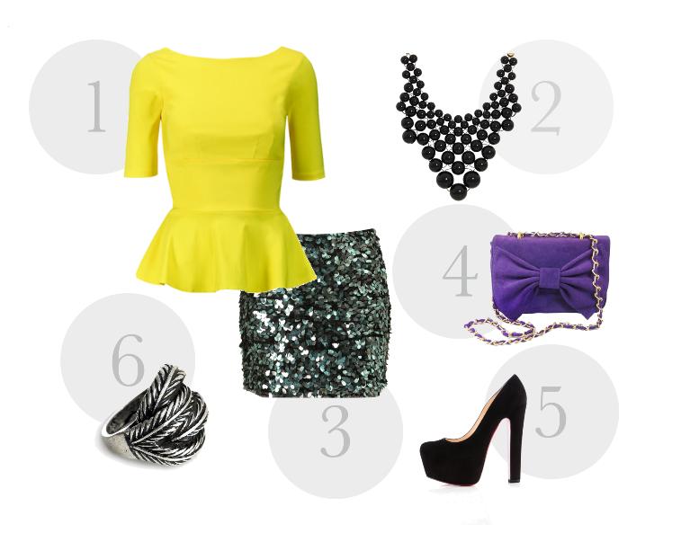 Peplum  1. The pretty dress company, 2. Kate Spade, 3.TopShop, 4. Mel Boteri, 5. Christian Louboutin, 6. Ligsaw