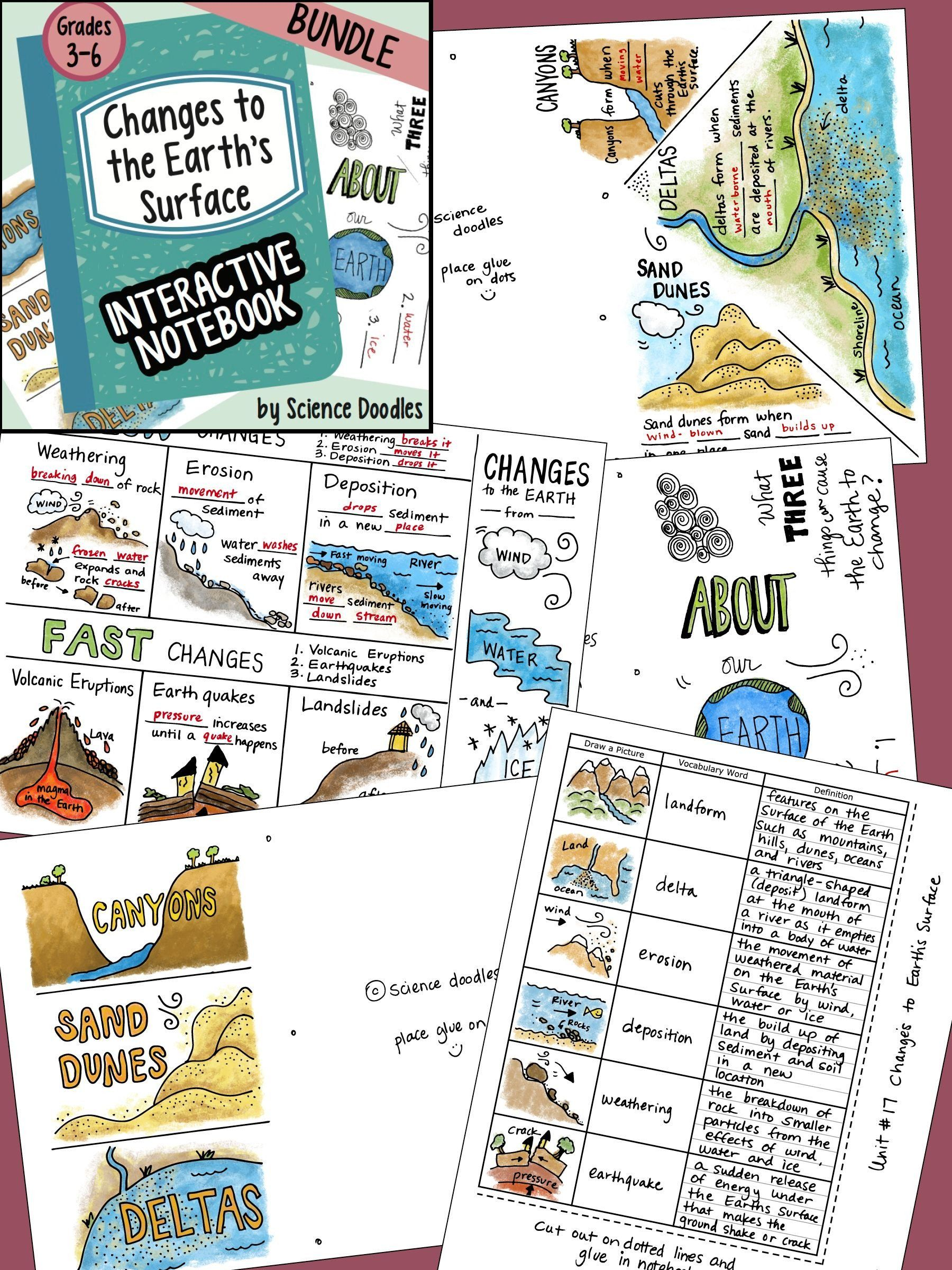 Weathering Erosion And Deposition Worksheet Weathering Erosion Deposition Changes To The Earth I Weathering And Erosion Science Doodles Interactive Notebooks