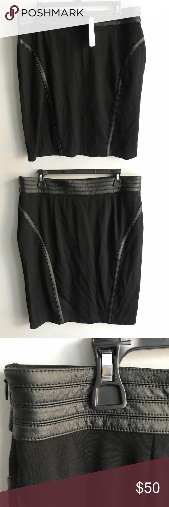 06a005ea73 Chico's Faux Leather Trim Ponte Black Pencil Skirt Chico's Faux Leather  Trim Ponte Black Skirt Size
